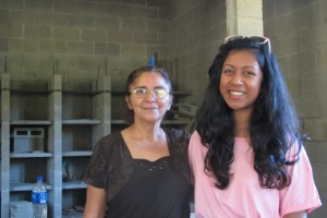 Kat with Rosa Rivera, building a sanctuary for the remains of people killed in the civil war.
