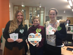 CAFOD's Sarah Croft wearing her green heart badge to show support for action on climate change