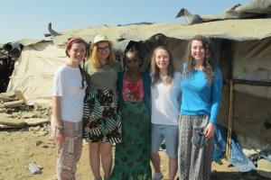 five women stood in an Ethiopian town